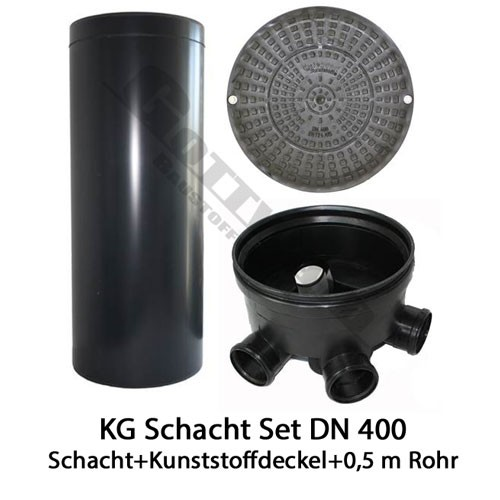 KG Schacht Set Dn 400 begehbar Kunststoffdeckel - 3 Fach Durchlauf - 0,5 Meter Steigrohr