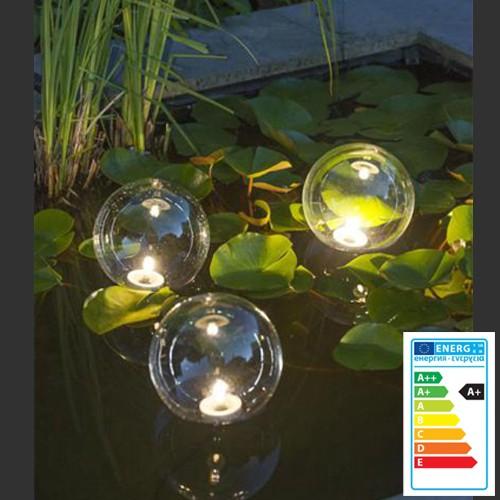 Schwimmende Kunststoffkugeln mit LED Gartenteich