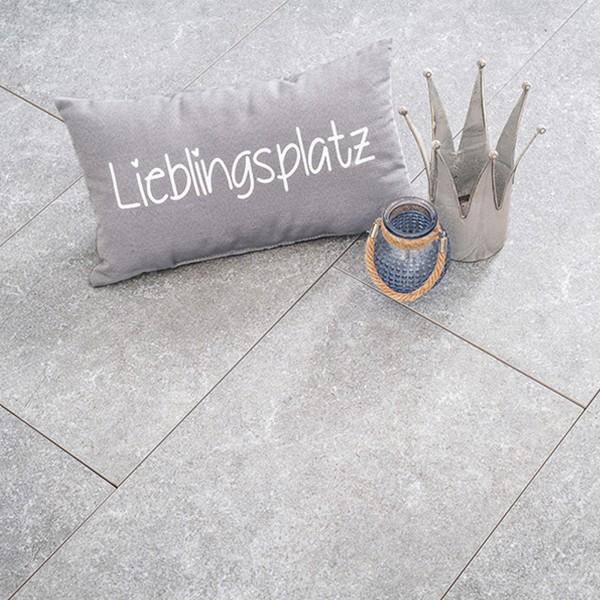 Terrassenplatte Ceramia Trenta Quarz 120x30x3 cm Beispiel