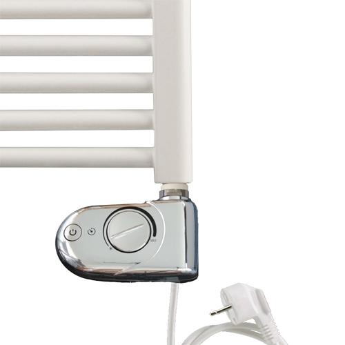 heizstab typ 3 wei oder chrom elektroheizung mit integriertem thermostat ebay. Black Bedroom Furniture Sets. Home Design Ideas