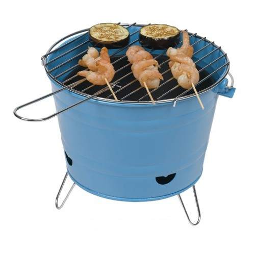 Grilleimer Holzkohlegrill blau 27 cm Minigrill Partygrill Picknick