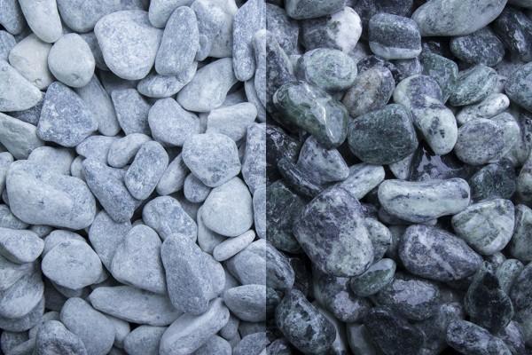 Kristall Grün getrommelt 15-25 mm Marmor trockener und nasser Zustand