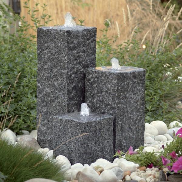 Wasserspiel Siena 3 Granitsäulen inkl LED