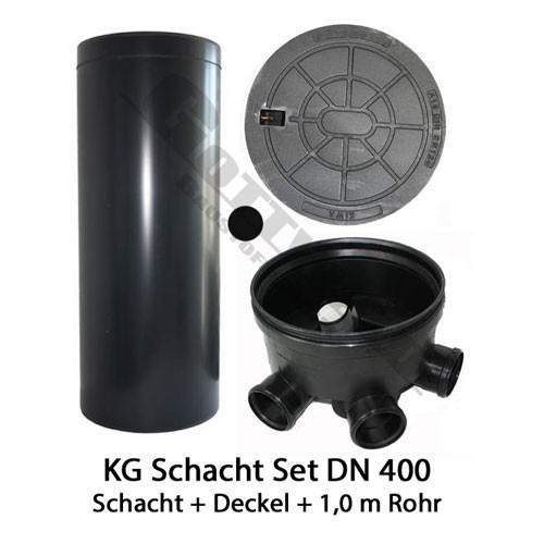 KG Schacht Set Dn 400 begehbar Gussdeckel -3 Fach Zulauf - 1 Meter Steigrohr