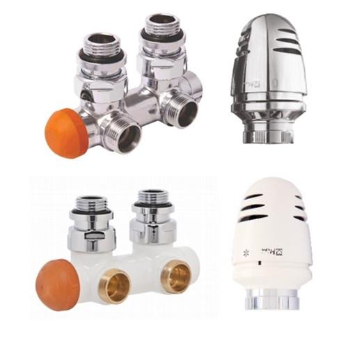 Design Mittelanschlussgarnitur für Heizkörper - weiß - chrom 1/2 Zoll