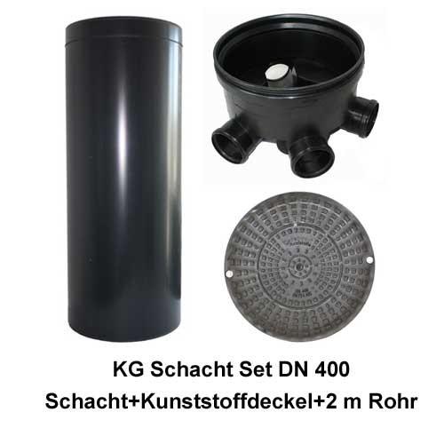 KG Schacht Set Dn 400 begehbar Kunststoffdeckel - 3 Fach Durchlauf - 2,0 Meter Steigrohr