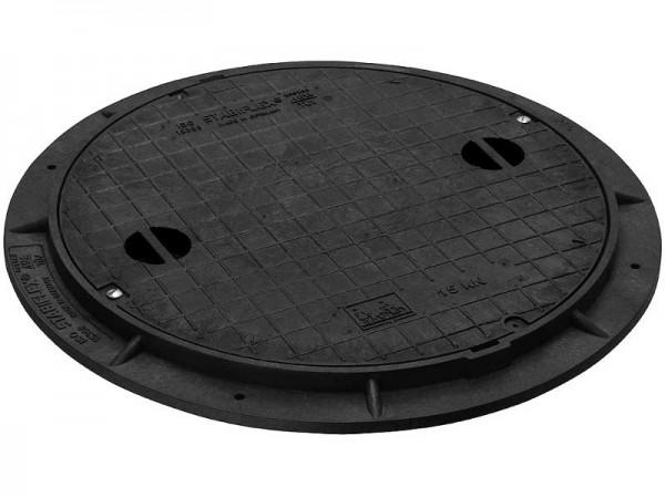 Kunststoffschachtabdeckung DN 600 befahrbar Flanschrahmen Griffmulden Basic